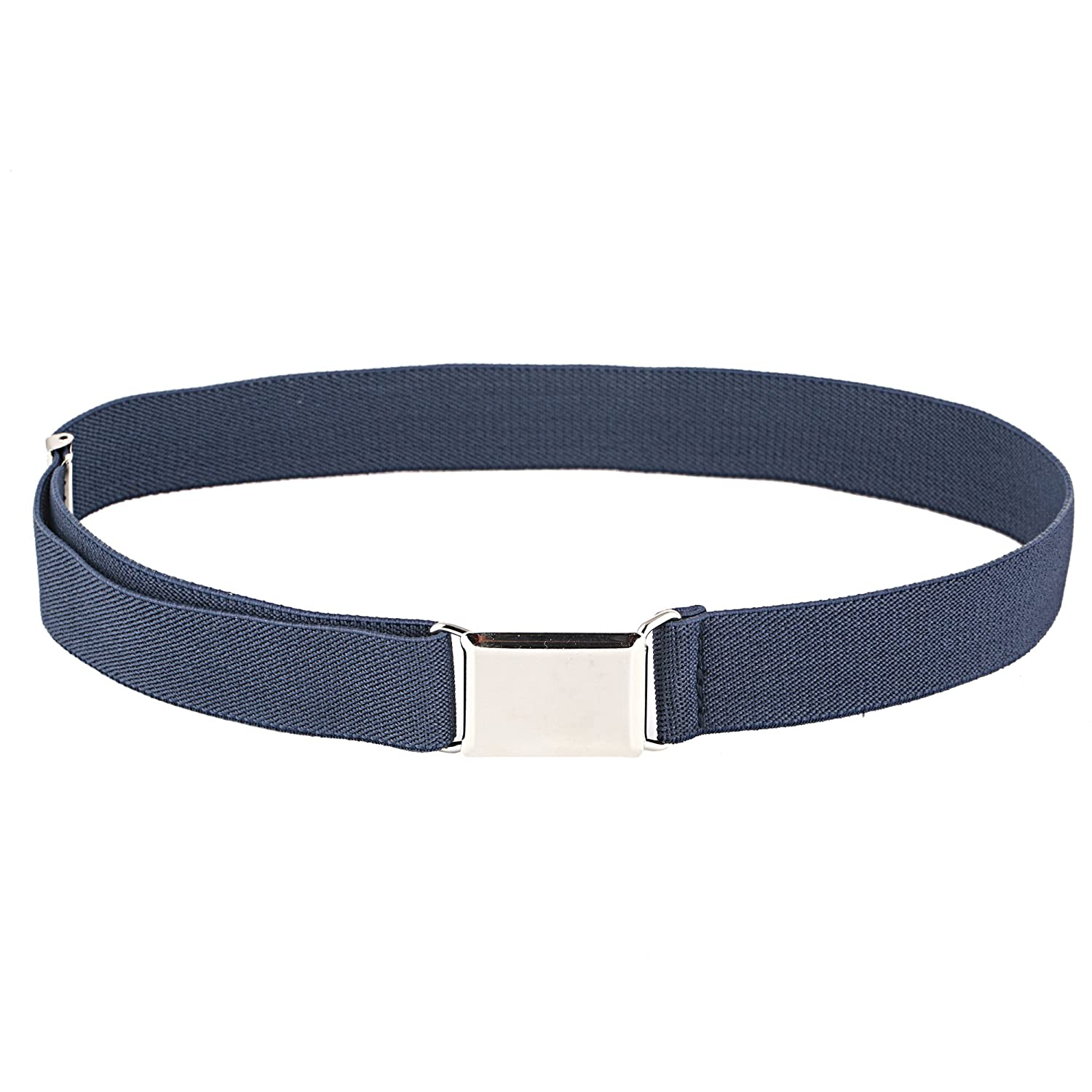 Kids Adjustable And Elastic Dress Stretch Belt with Silver Buckle