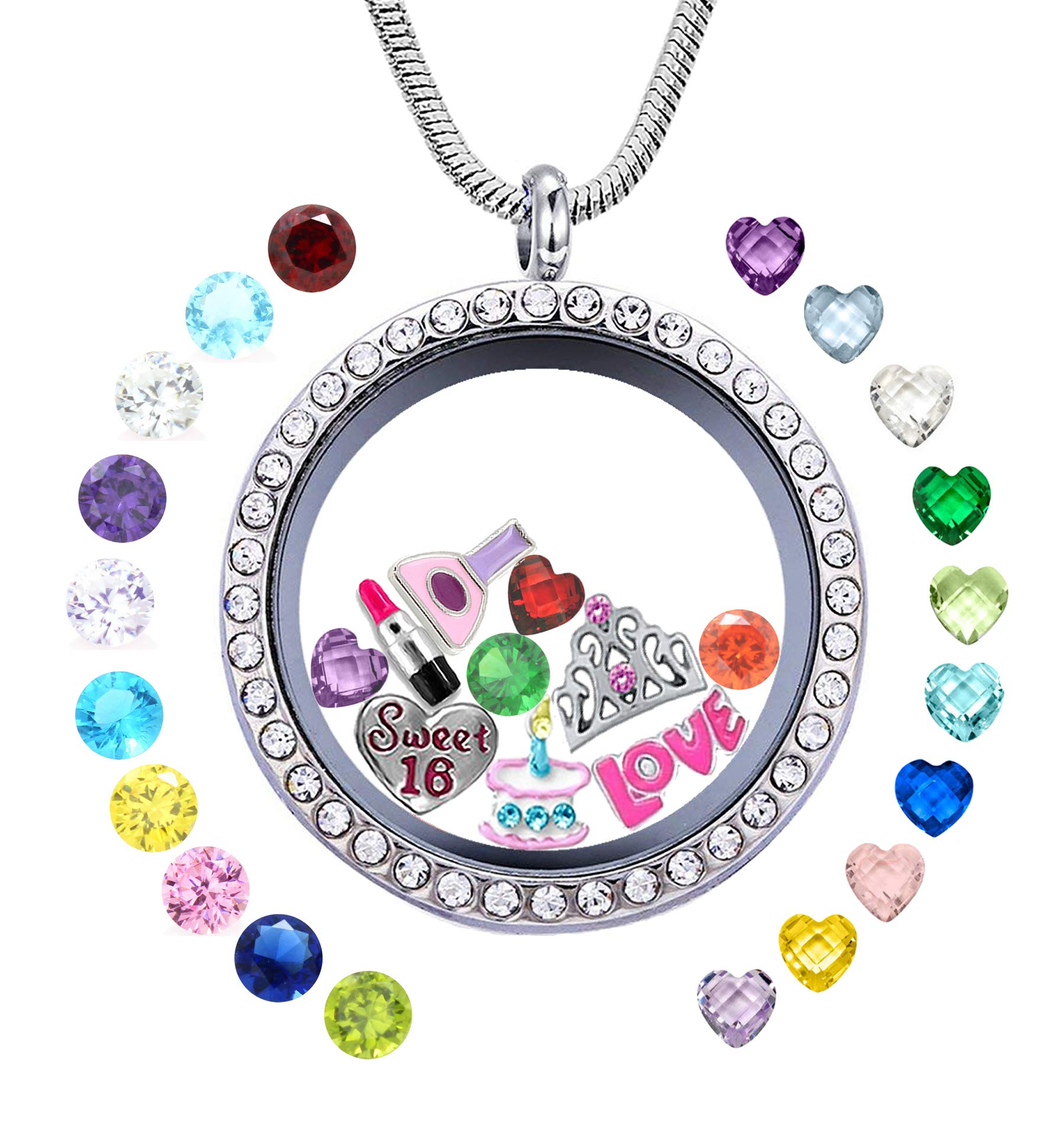 JOLIN Sweet Sixteen 16th Birthday Gift Girls 30mm Round Floating Living Memory Locket Pendant Necklace 5Pcs Charms 24Pcs Birthstones Niece Daughter