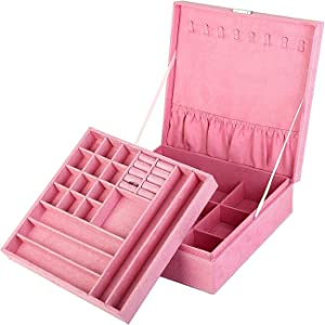 KLOUD City Two-Layer lint Jewelry Box Organizer Display Storage case with Lock (Pink)