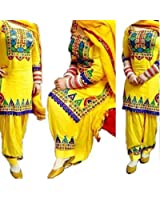 Clothfab Women's Cotton Embroidered Semi-stitched Patiala Suit yellow-patialas-suit_Free Size