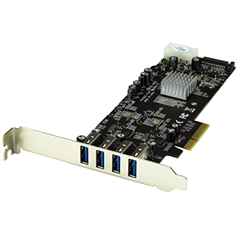StarTech.com 4 Port PCI Express (PCIe) SuperSpeed USB 3.0 Card Adapter w/ 2 Dedicated 5Gbps Channels - UASP - SATA / LP4 Power (PEXUSB3S42V)