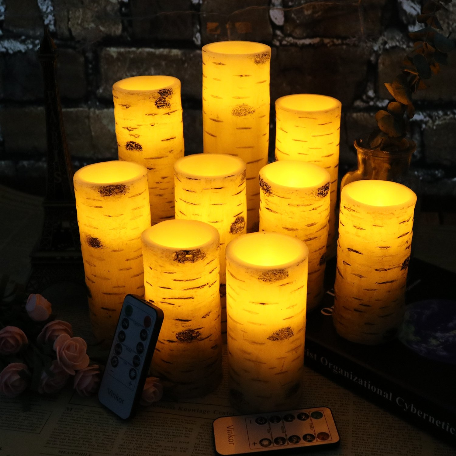 Vinkor Flameless Candles Battery Operated Candles Birch Bark Effect 4'' 5'' 6'' 7'' 8'' 9'' Set of 9 Real Wax Pillar LED Candles with 10-Key Remote Control 2/4/6/8 Hours Timer