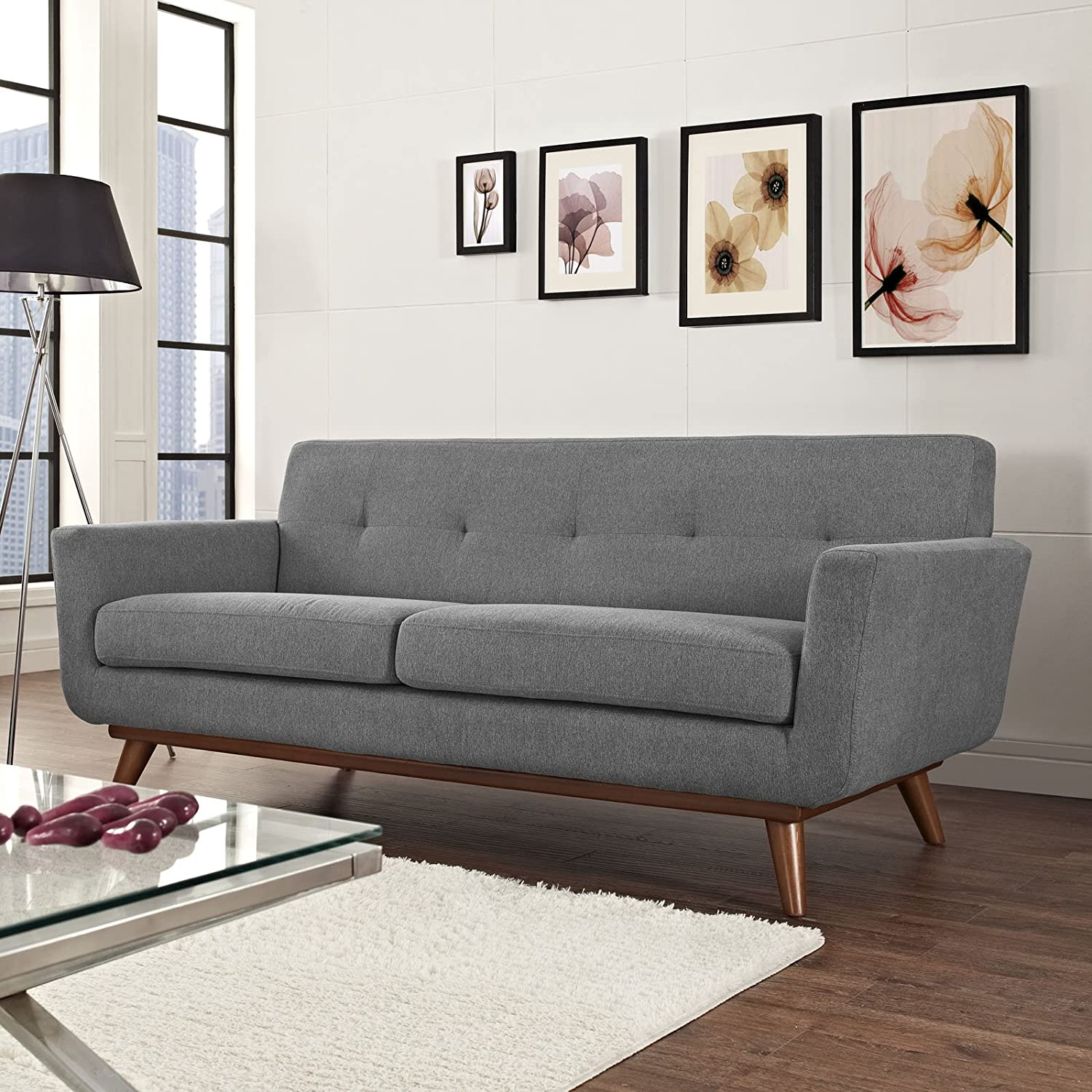 Modway Engage Mid-Century Modern Upholstered Fabric Loveseat In Expectation Gray