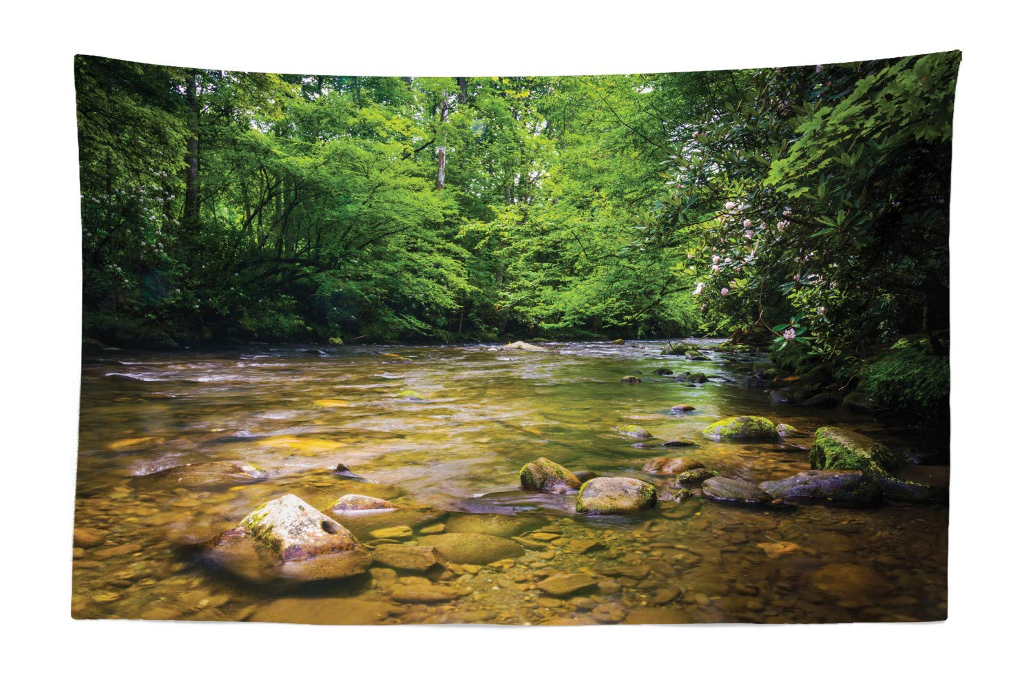 """Ambesonne Appalachian Tapestry, Oconaluftee River at Smoky Mountains National Park, Fabric Wall Hanging Decor for Bedroom Living Room Dorm, 45"""" X 30"""", Lime Green"""