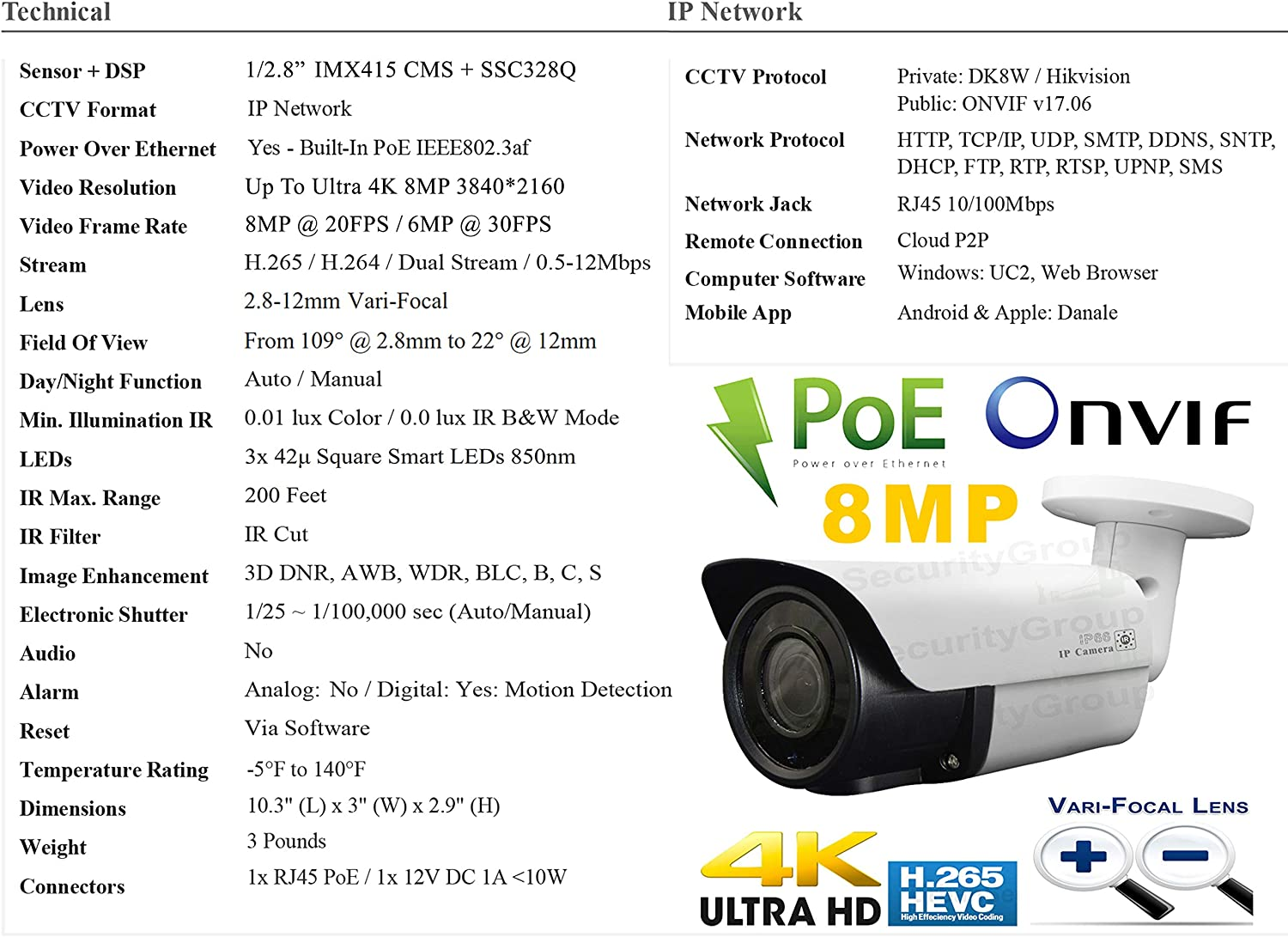 8 16 Channel Ultra 4K PoE NVR + Urban Security Group 8MP 8 Camera PoE System : 6TB HDD : Indoor Outdoor : Plug Play 8MP Bullet 2.8-12mm 200ft IR Range Cameras + 1 1