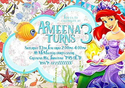 Personalised Birthday Party Invitations Disney Princess Ariel Little Mermaid 8 Thick Cards A6 Envelopes 32 Amazoncouk Kitchen Home