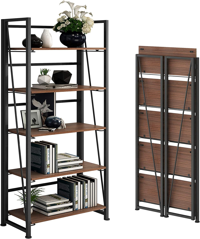 GHQME No-Assembly Folding Bookshelf Storage Shelves 5 Tiers Vintage Multifunctional Plant Flower Stand Storage Rack Shelves Bookcase for Home Office (Black)… (Brown)