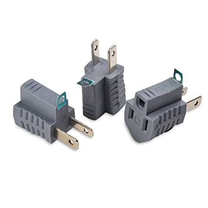 amazon com cable matters 3 pack polarized grounding adapter in grey