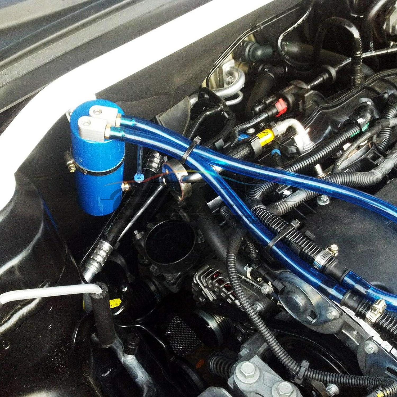 EZAUTOWRAP Black High Capacity Aluminum Engine Oil Catch Tank Reservoir Breather Can #1