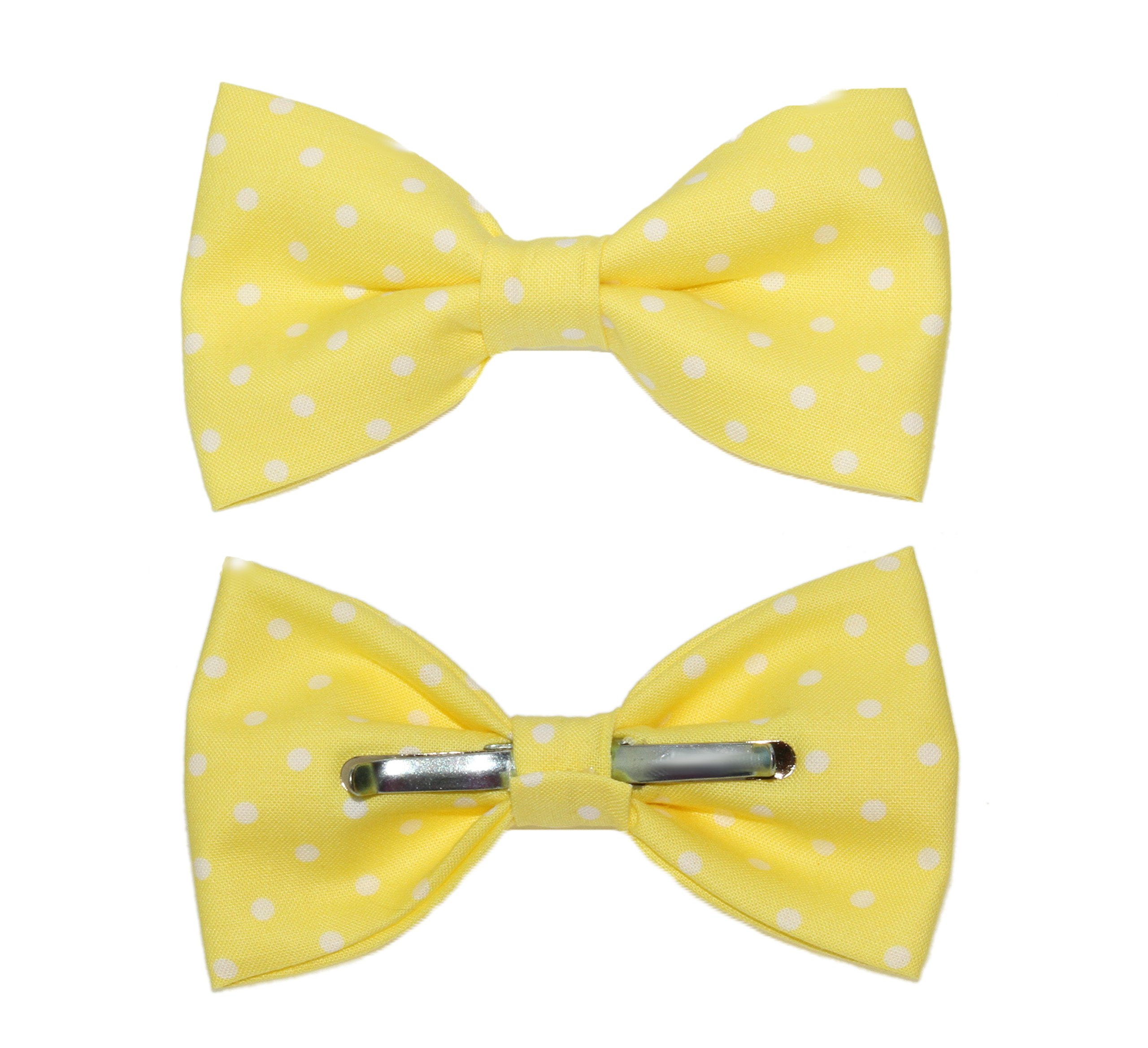 Men's Yellow With White Dots Clip On Cotton Bow Tie Bowtie by amy2004marie