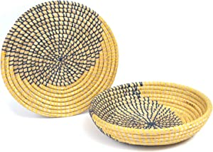 TACHILC Natural Seagrass Kitchen Woven Fruit Bowl, Wall Basket Decor, Boho Wall Hainging Decorative Plate, (moon)