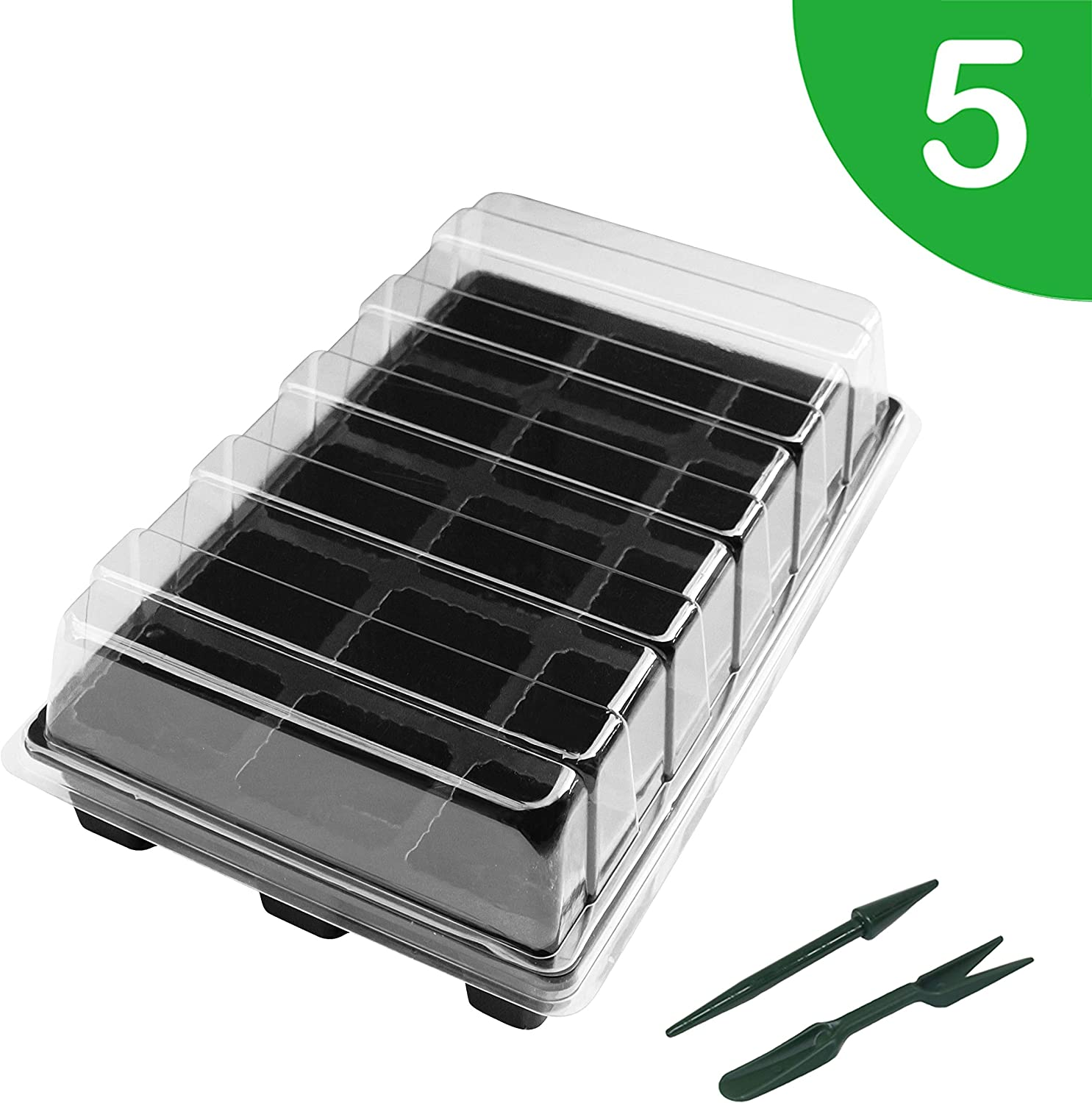 "Gardzen 5-Set Garden Propagator Set, Seed Tray Kits with 75-Cell, Seed Starter Tray with Dome and Base 15"" x 9"" (15-Cell Per Tray)"