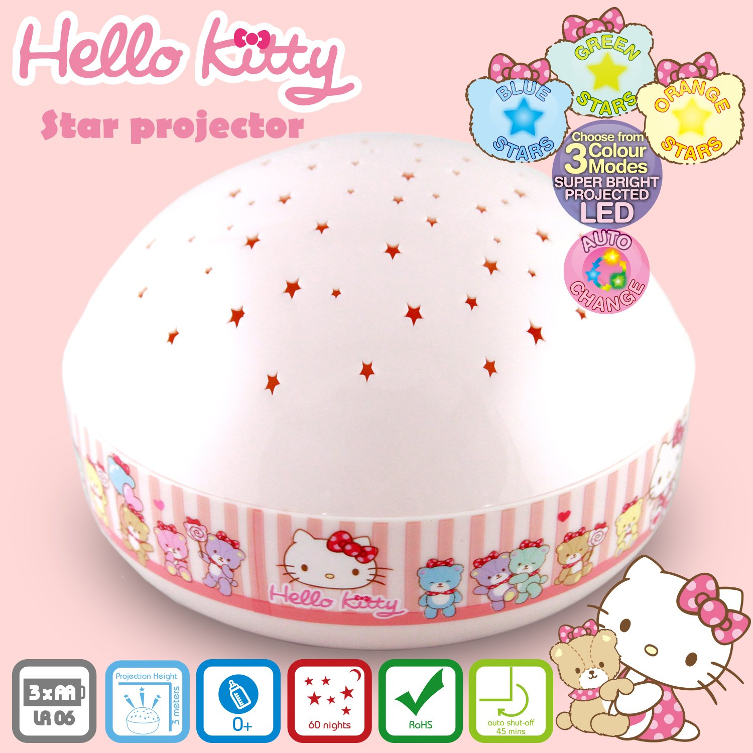 Hello Kitty''Touch Active, Easy Clean'' Twilight Constellation Galaxy Night Light Star Projector by Lumitusi (Hello Kitty)