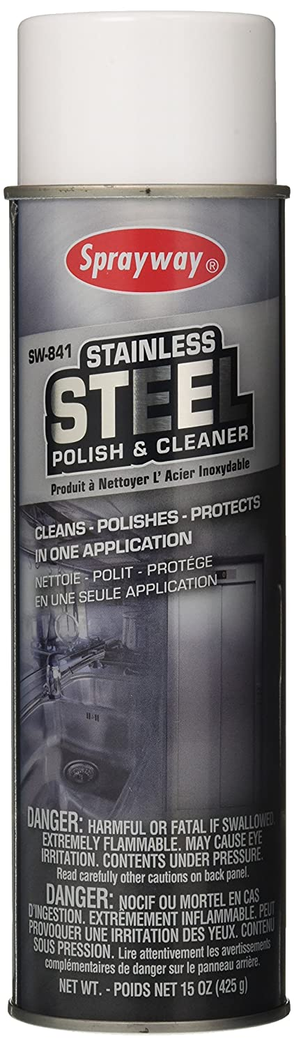 Sprayway SW841 Water-Based Stainless Steel Cleaner and Polish, Protects and Preserves, Resists Streaks and Finger prints, 15 Oz,