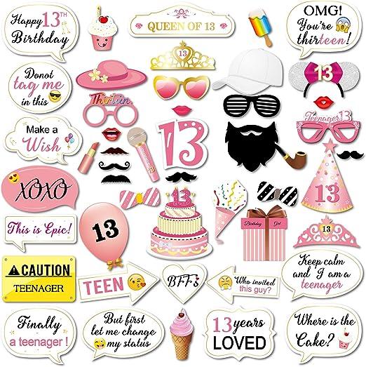 Amazon.com: Kit de 13 accesorios para fotos de cumpleaños ...