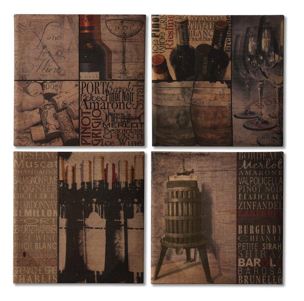 Cape Craftsmen Evergreen Elegant Burlap Canvas Wine Lovers Art Collection Set of 4