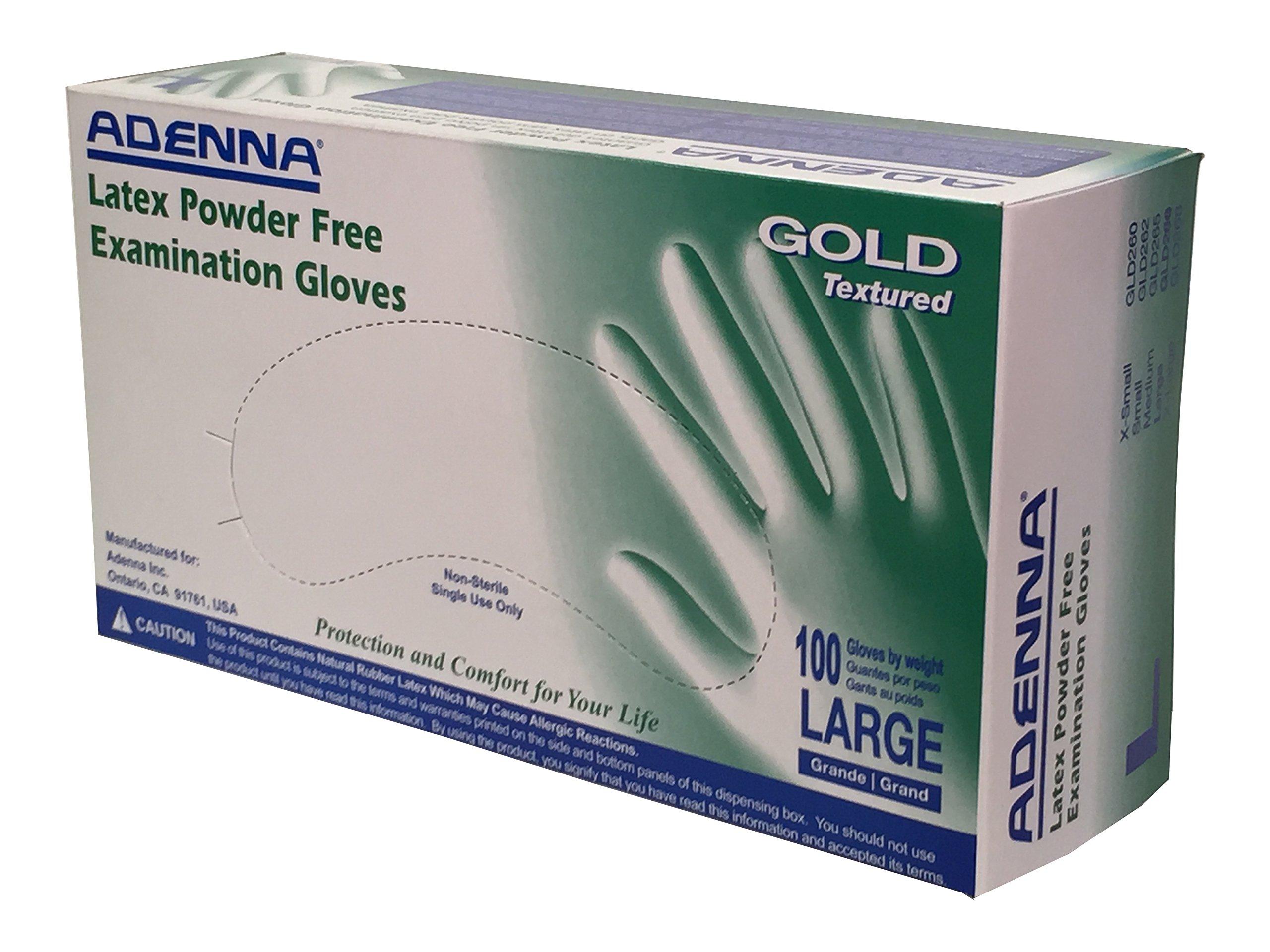 Adenna Gold 6 mil Latex Powder Free Exam Gloves (White, Large) Box of 100