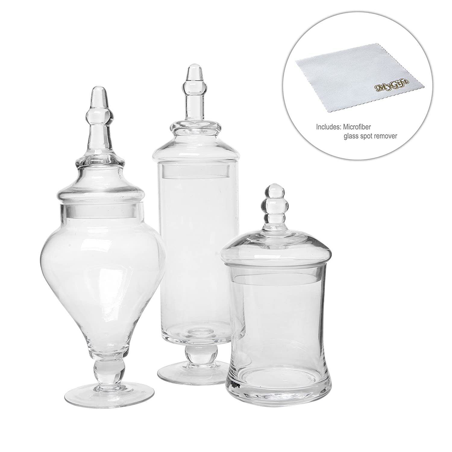 amazon com designer clear glass apothecary jars 3 piece set amazon com designer clear glass apothecary jars 3 piece set decorative weddings candy buffet mygift home kitchen
