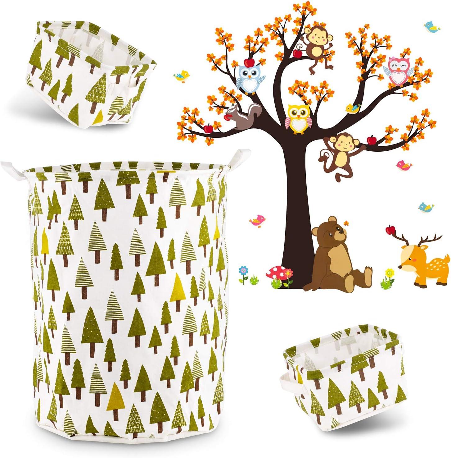 Shiny Blue Woodland Nursery Decor Set (4pce) Laundry Basket, 2 Small Storage Baskets & Forest Animal Wall Decal - Tree Print Laundry Hamper & Storage Bins - DIY Wall Decal Sticker - Woodland Decor