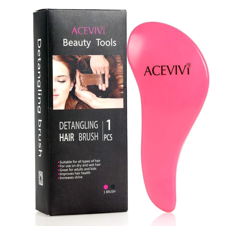 ACEVIVI Detangling Hair Brush - glide the Detangler through Tangled hair - Best Brush / Comb for Women, Girls, Men & Boys - Top Detangling Brush -Use in Wet and Dry Hair, RoseRed
