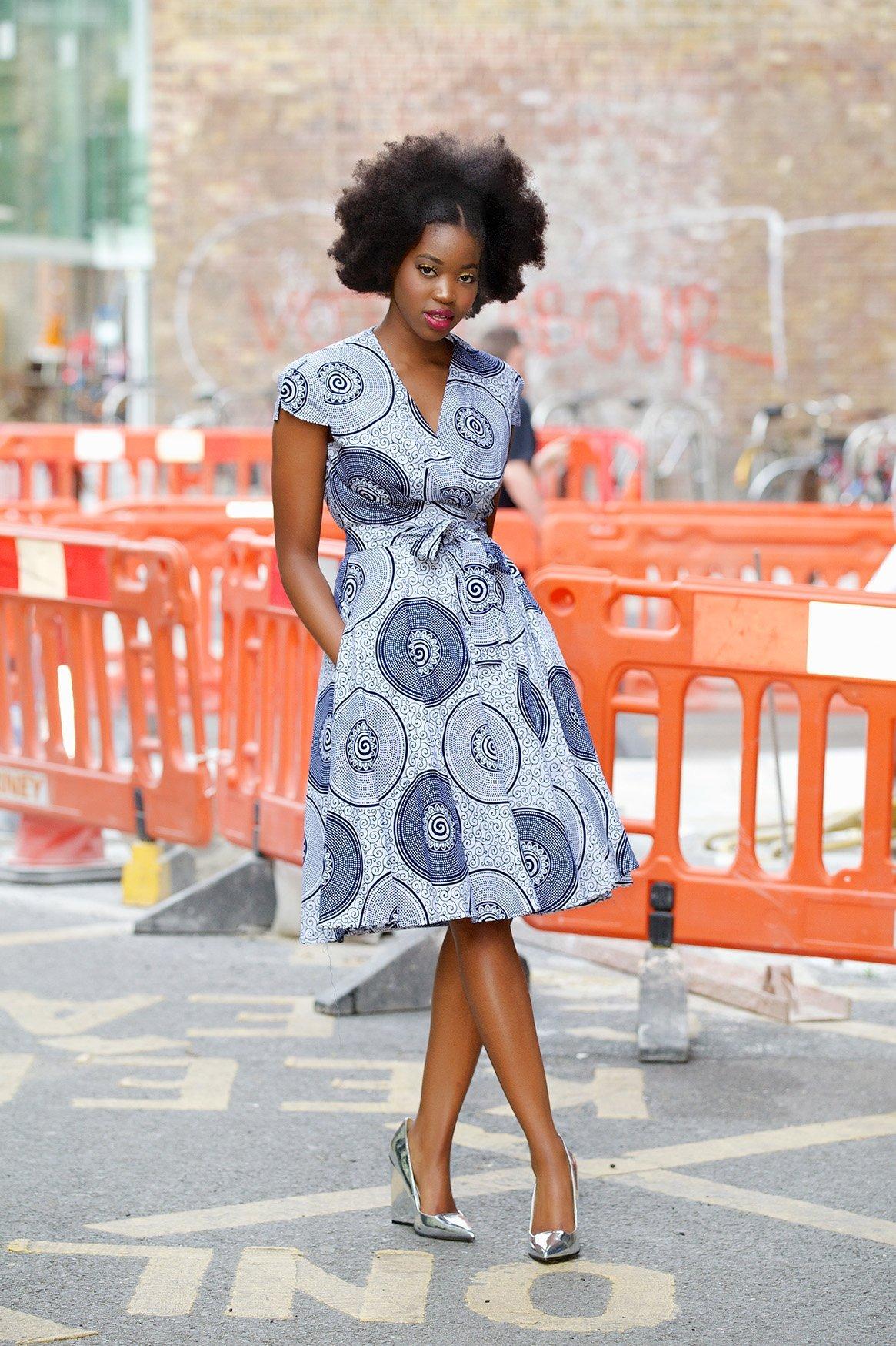 Ankara wrap dress / wax print dress / wrap dress / African print dress - Queen indigo print dress