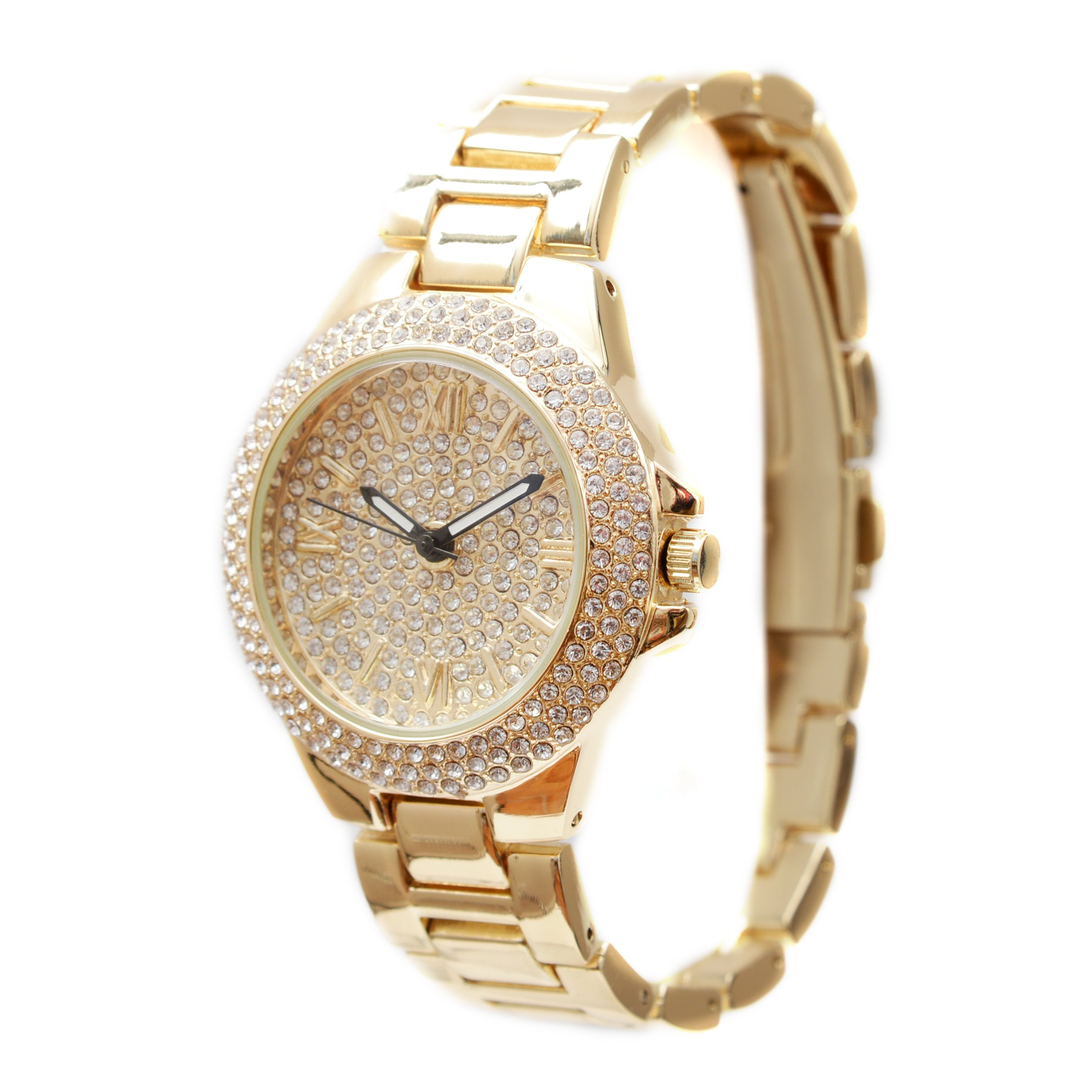 Ladies Dainty Beautiful Hip Hop Bling Bling Watch with Jesus Ruby Red Charm Necklace and Matching Gold Jesus Earrings - RRR11A -7841 Gold Jesus Set