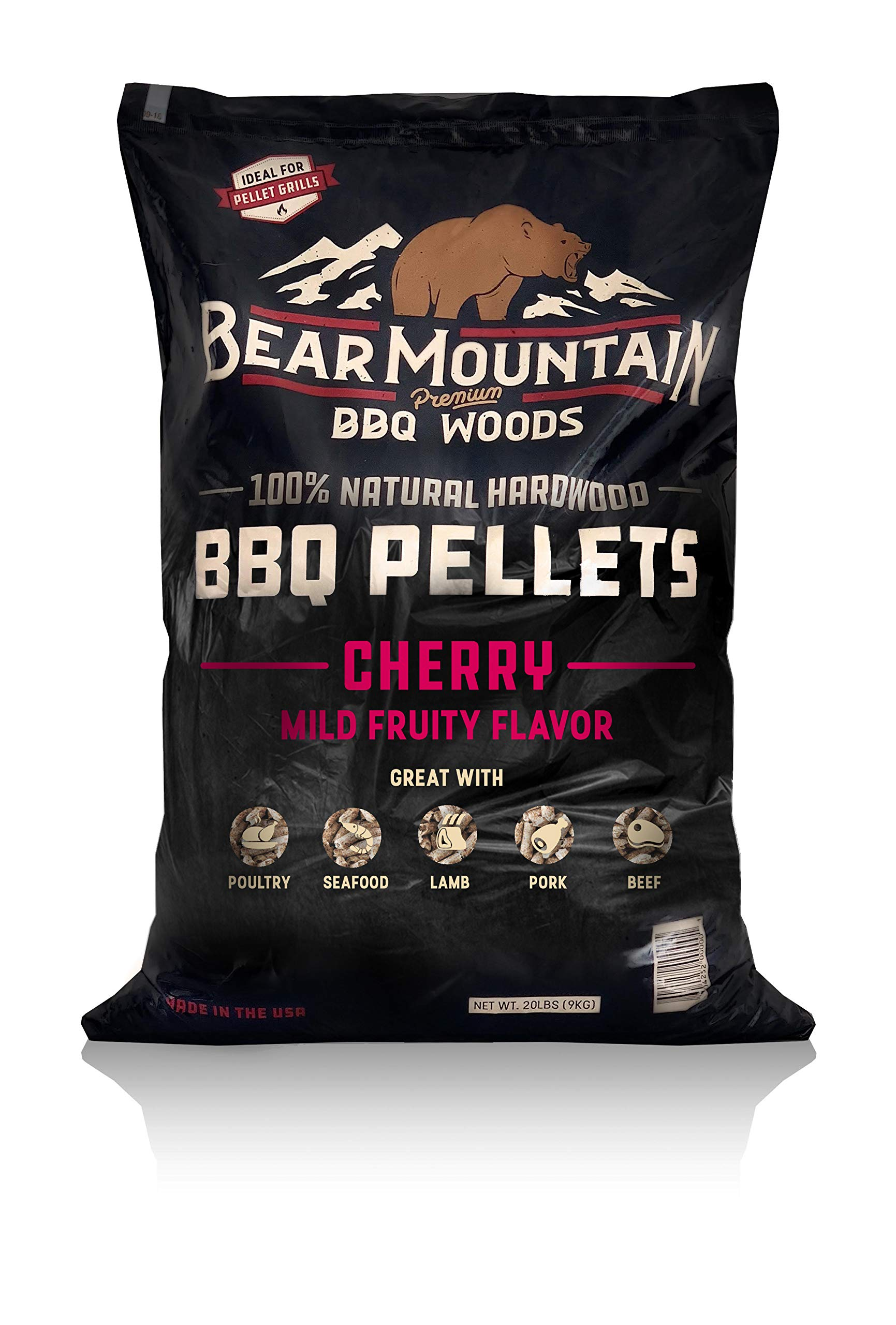 Bear Mountain BBQ 100% All-Natural Hardwood Pellets - Cherry Flavor (20 lb. Bag) Perfect for Pellet Smokers, or Any Outdoor Grill | Mild, Fruity Wood-Fired Flavor by Bear Mountain BBQ