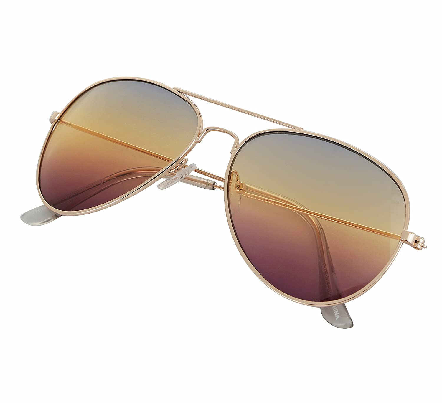 1b0a2d2173 Amazon.com  Clear Lens Aviator Glasses Unisex UV400 Protected Metal Framed Gold  Eyeglasses By SunnyPro (Gradient)  Clothing
