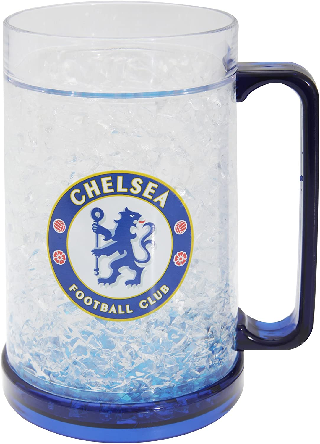Chelsea FC Official Football Crest Freezer Mug (One Size) (Clear/Blue)