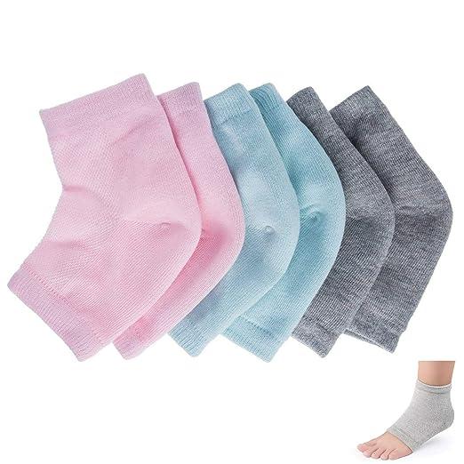 23b0a1795aa33 Gel Socks 3 pairs Vented Moisturizing flexible Unisex Gel Heel Socks Day  Night Toe Open Feet