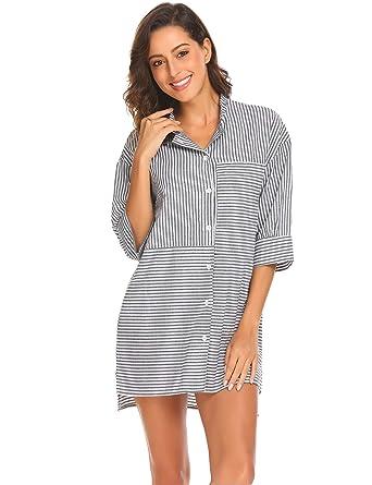 a5aa53e0744a Ekouaer Womens Cotton Nightgown Button Down Striped Boyfriend Sleep Shirt