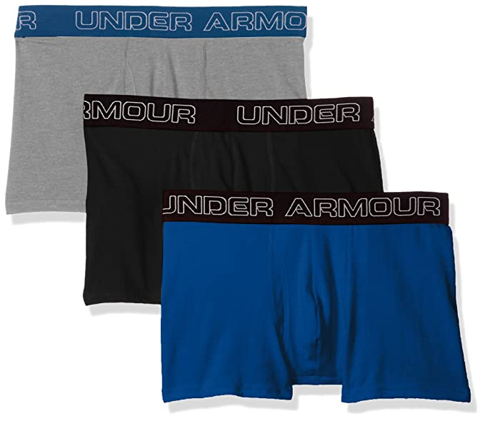 """c87823c0b85f Under Armour Men's Charged Cotton Stretch 3"""" Boxerjock - 3-Pack,  Moroccan Blue"""