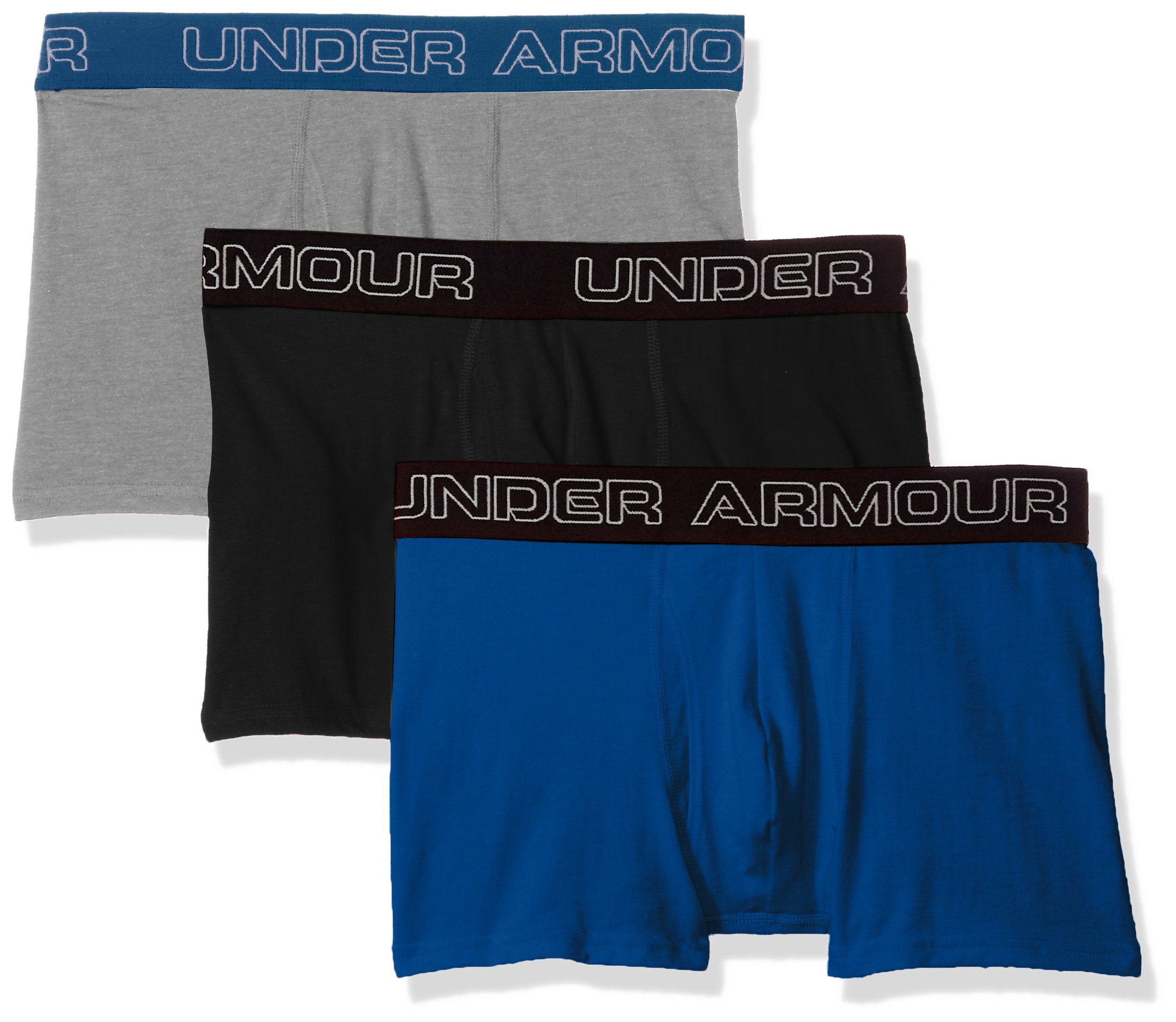 """Under Armour Men's Charged Cotton Stretch 3"""" Boxerjock – 3-Pack, Moroccan Blue (487)/Black, Large by Under Armour"""
