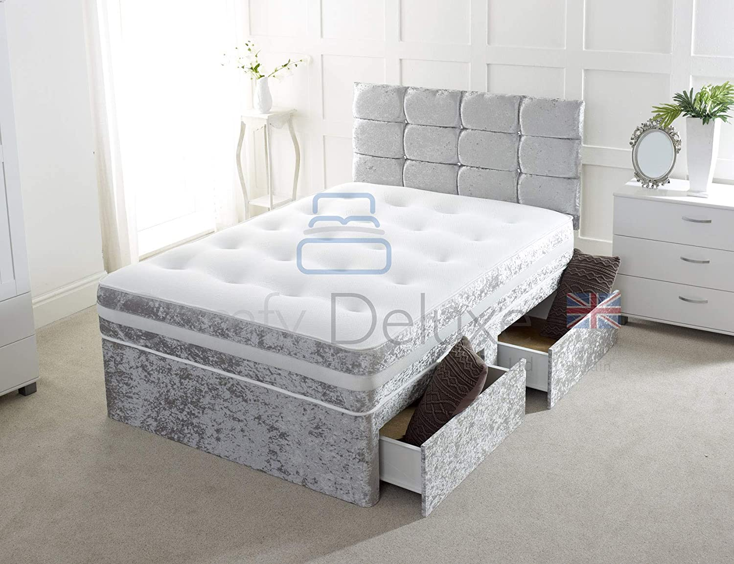 pretty nice aa0a3 30bcc Crushed Velvet 4FT Small Double Divan Bed with Mattress Free HEADBOARD and  Storage Drawers Available