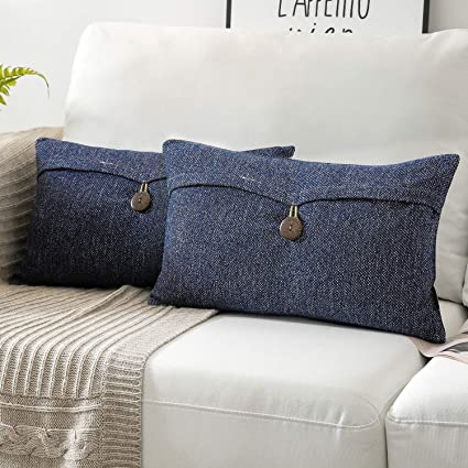 Phantoscope Set of 2 Single Button Cotton Blend Throw Pillow Case Cushion Cover Navy Blue 12 x 20 inches 30 x 50 cm