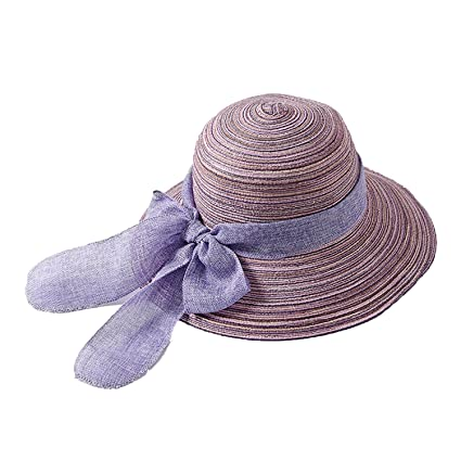 f62088d96 Womens Big Brim Sun Hat Floppy Bowknot Straw Hat UPF 50+ Summer ...