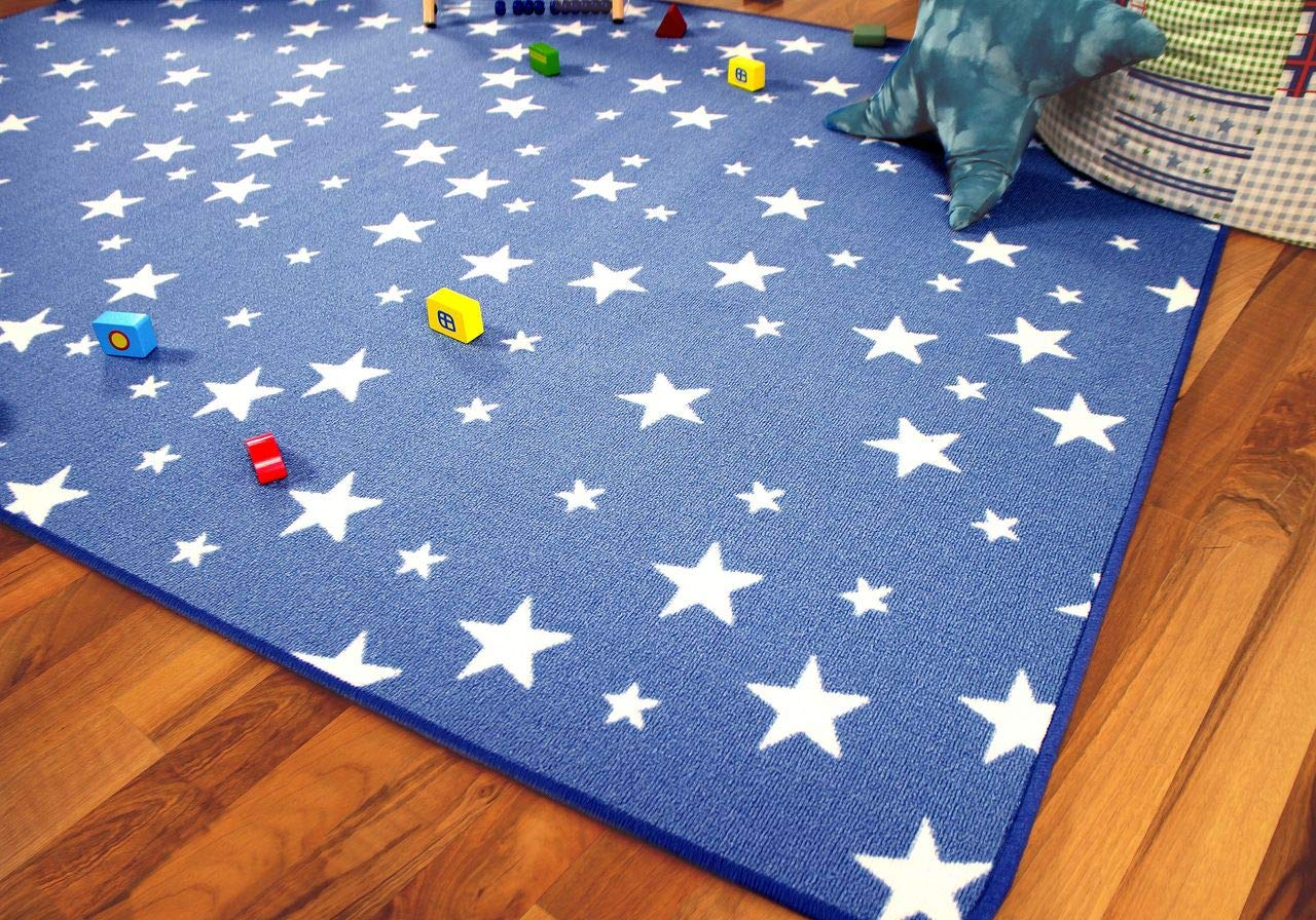 Alfombra Infantil y de Juego con dise/ño de Estrellas 17 tama/ños Azul