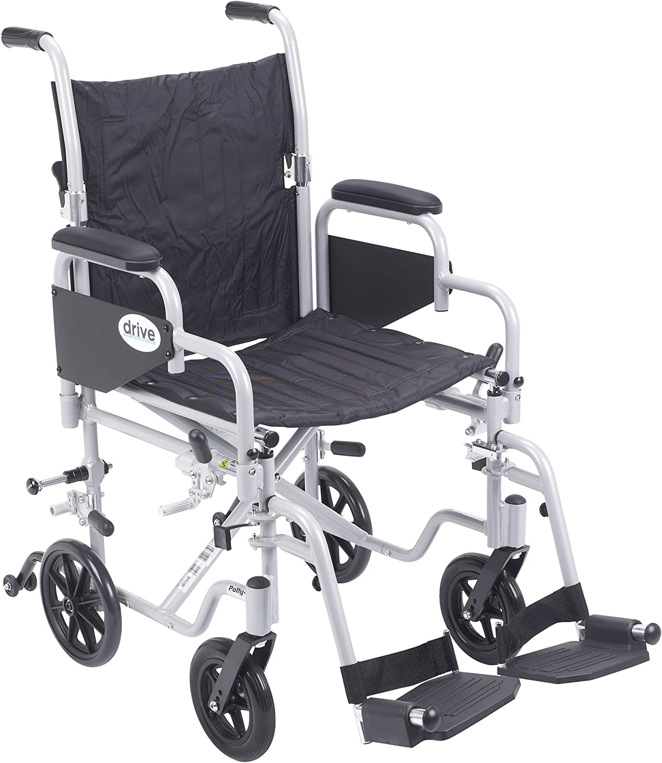 "Drive Medical Poly Fly Light Weight Transport Chair Wheelchair with Swing-Away Footrest, Silver, 18"" 81FRGe4-inL"