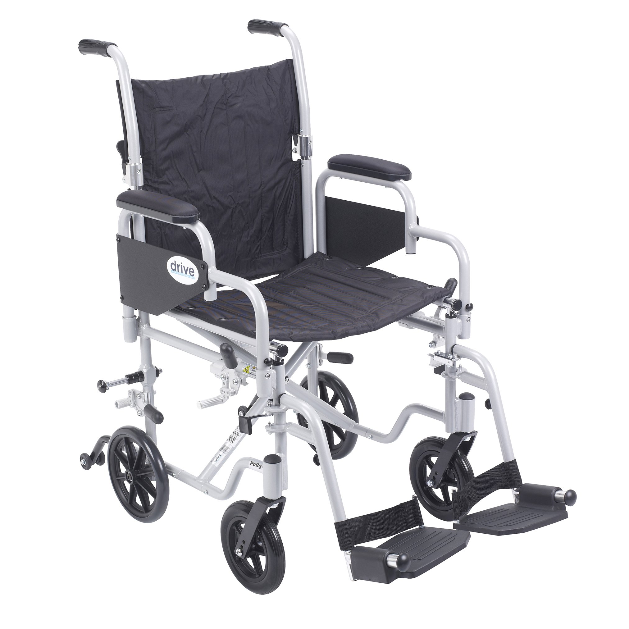 Drive Medical Poly Fly Light Weight Transport Chair Wheelchair with Swing-away Footrest, Silver, 18''