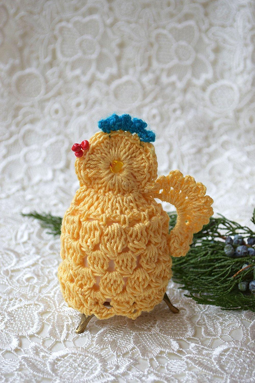 Ostern Häkeln Huhn gemütlich Gehäkelt Hähnchen Osterei Dekoration Ei ...