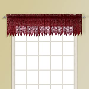 American Curtain and Home Patricia Window Treatment Valance, 52-Inch by 15-Inch, Burgundy