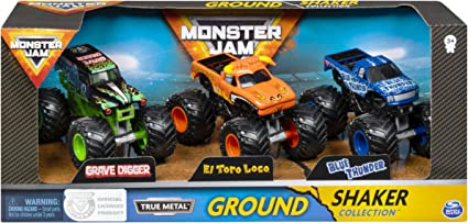 Amazon Com Monster Jam Charger Crushers 3 Pack Grave Digger El Toro Loco And Blue Thunder 1 64 Scale Die Cast Vehicles Multicolor Toys Games