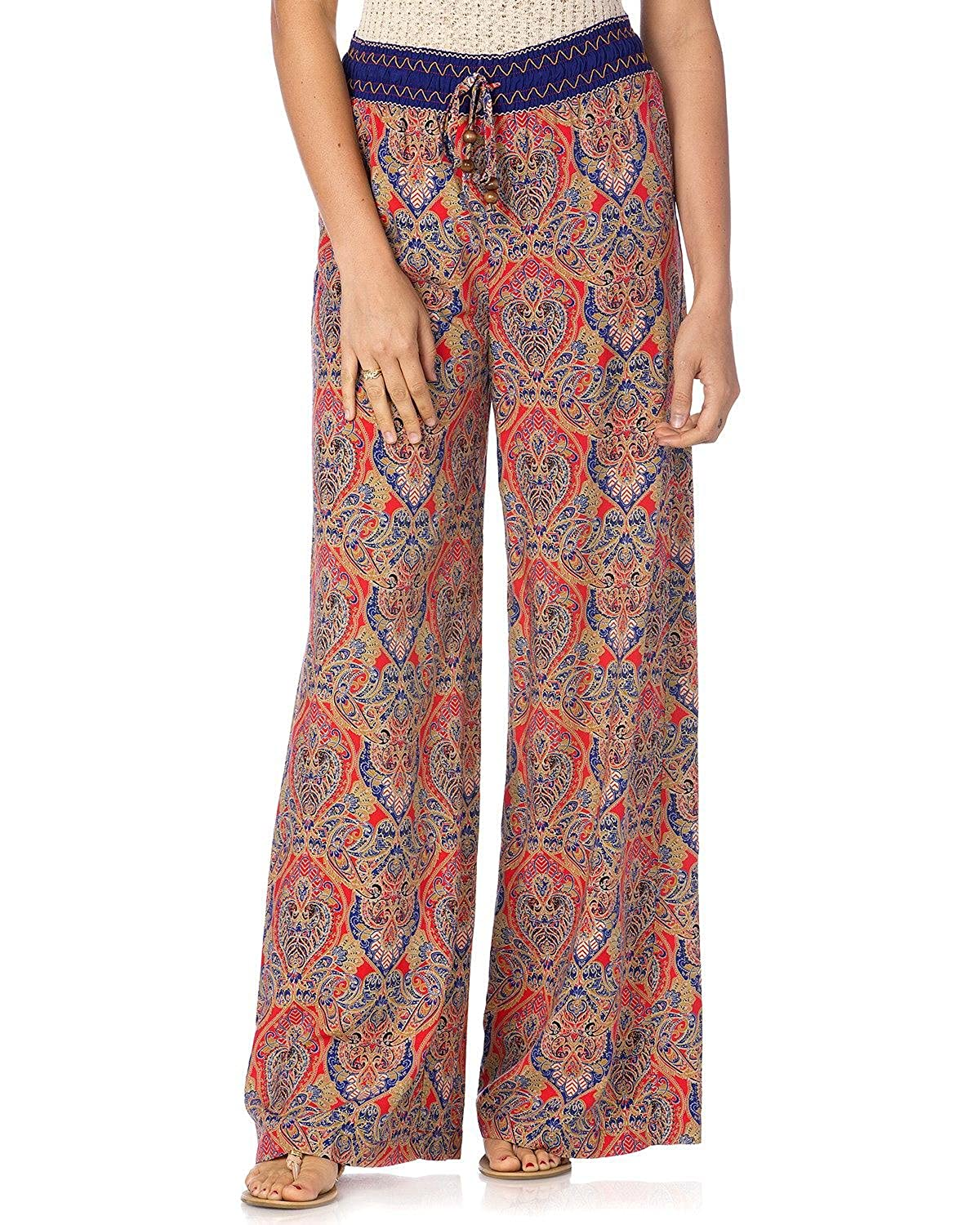 Miss Me Women's Coral And Navy Palazzo Pants - Mdp088l