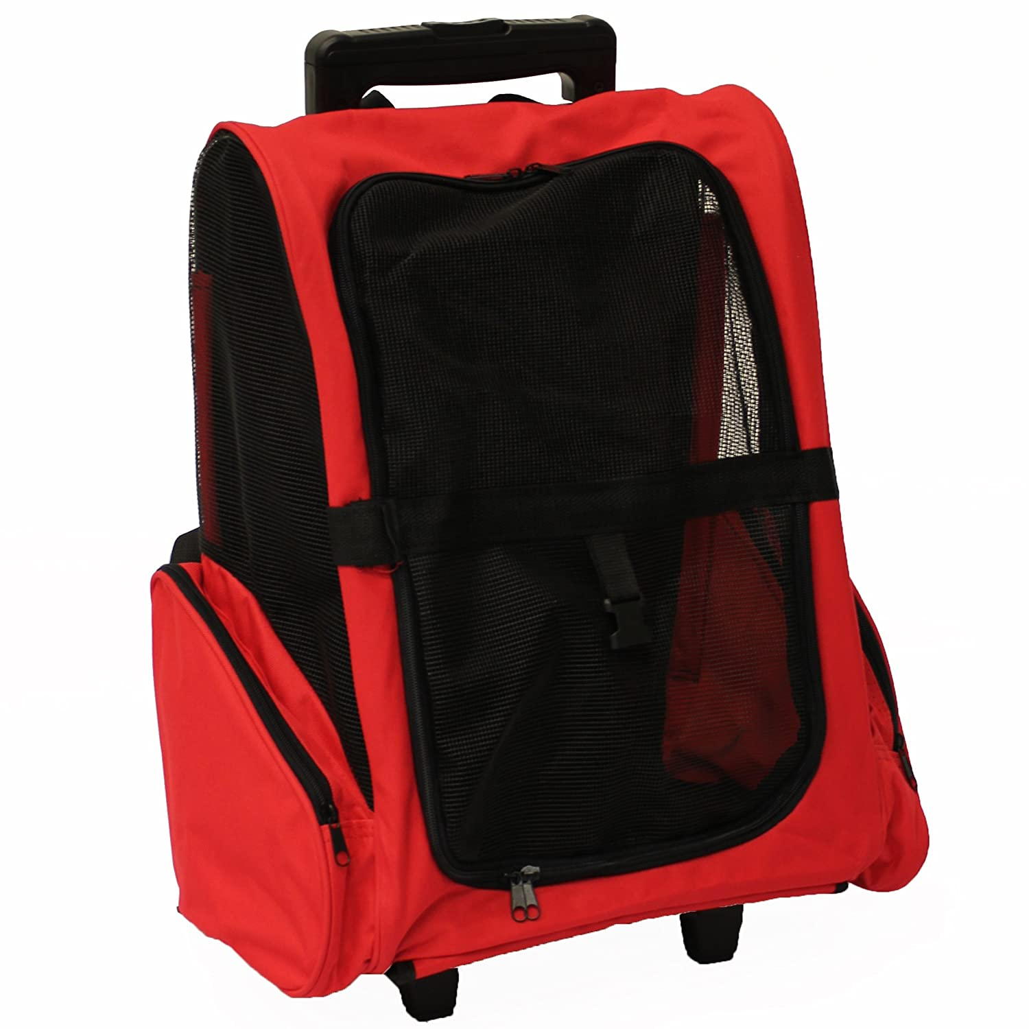Mool Pet Carrier Backpack with Integrated Trolley and Telescopic Handle 36 x 36x49 cm Red