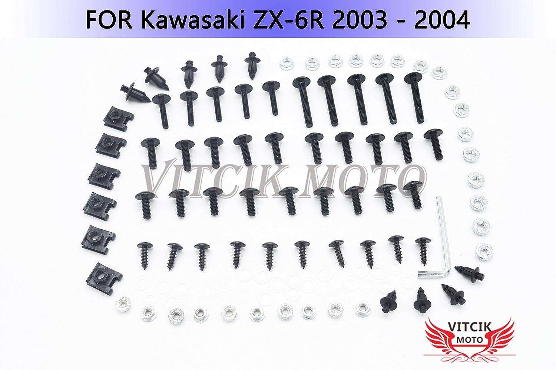 VITCIK Kit completo di carenatura viti bulloni per Kawasaki ZX6R ZX-6R Ninja 636 2003 2004 03 04 Serraggio per moto, clip in alluminio CNC (Verde)