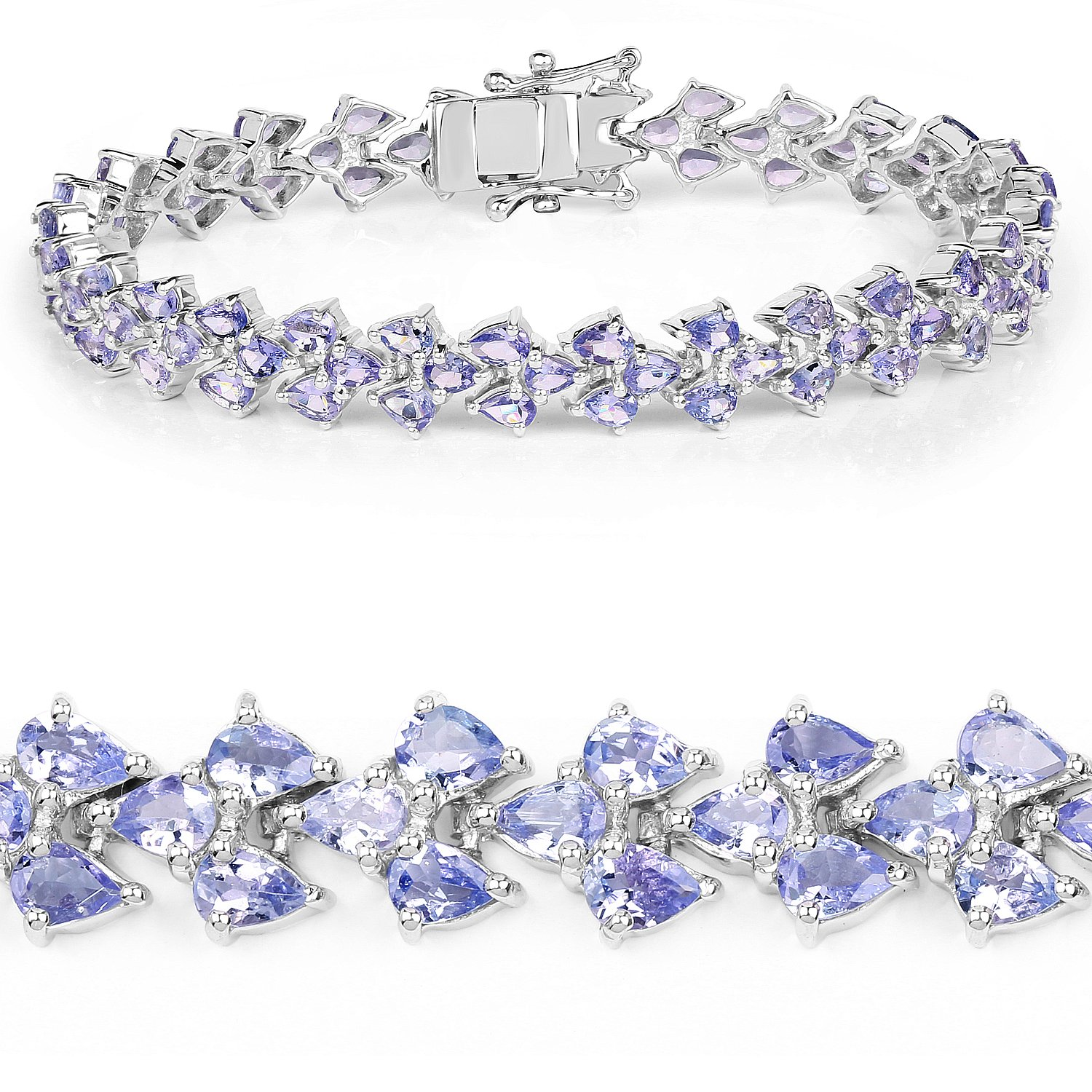 Sterling Silver 925 Bracelet 13.72 ct Tanzanite Pears Gemstone 8.25 inches