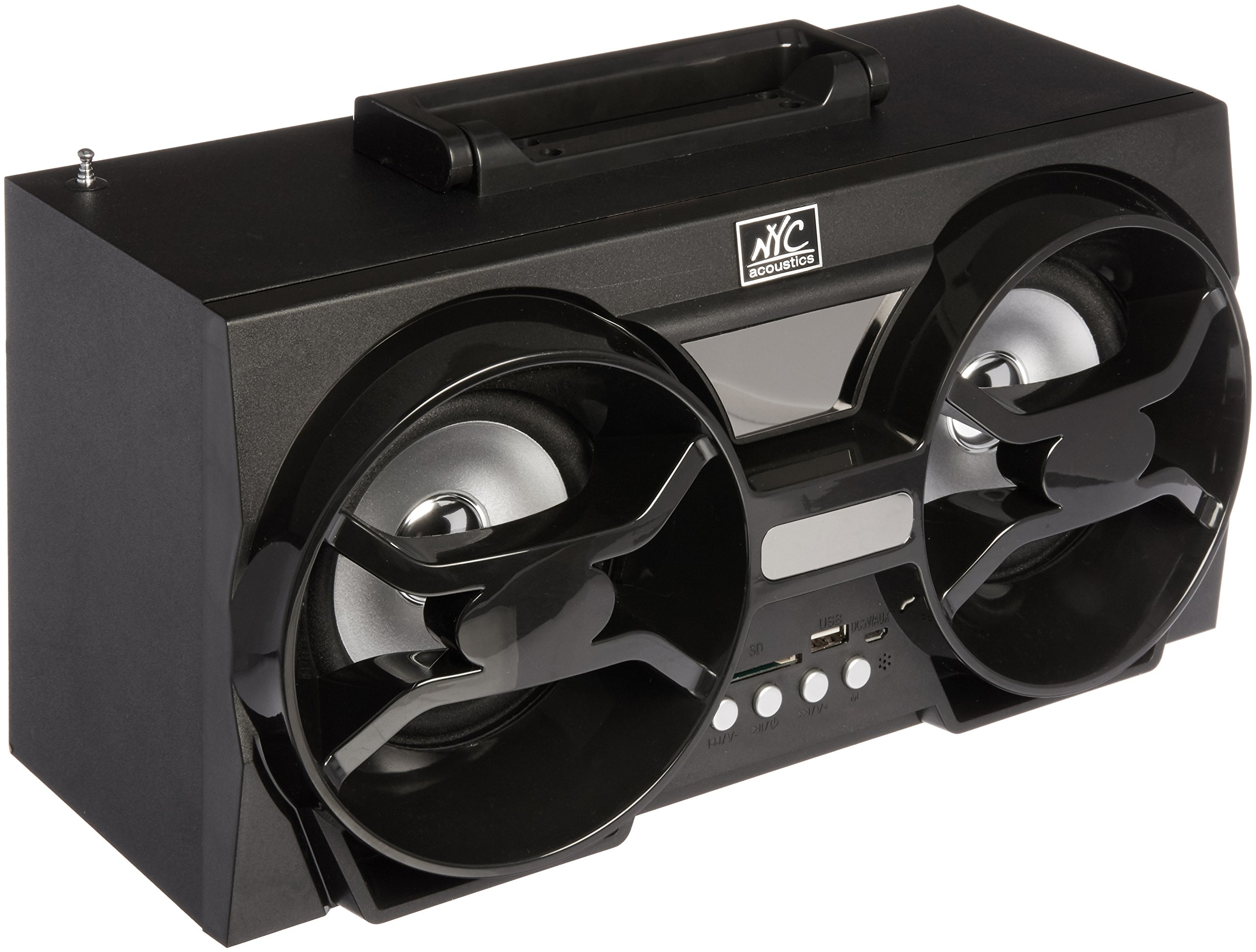 NYC Acoustics NPB3 Dual 30W Bluetooth Boombox Speaker with USB, SD, LED & Remote, 4''