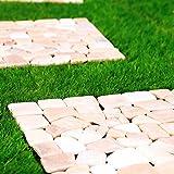 LOWYA (ロウヤ) 石畳マット 天然石 タイル 簡単カット ガーデンタイル 正方形 30.5x30.5cm 10枚セット ピンク
