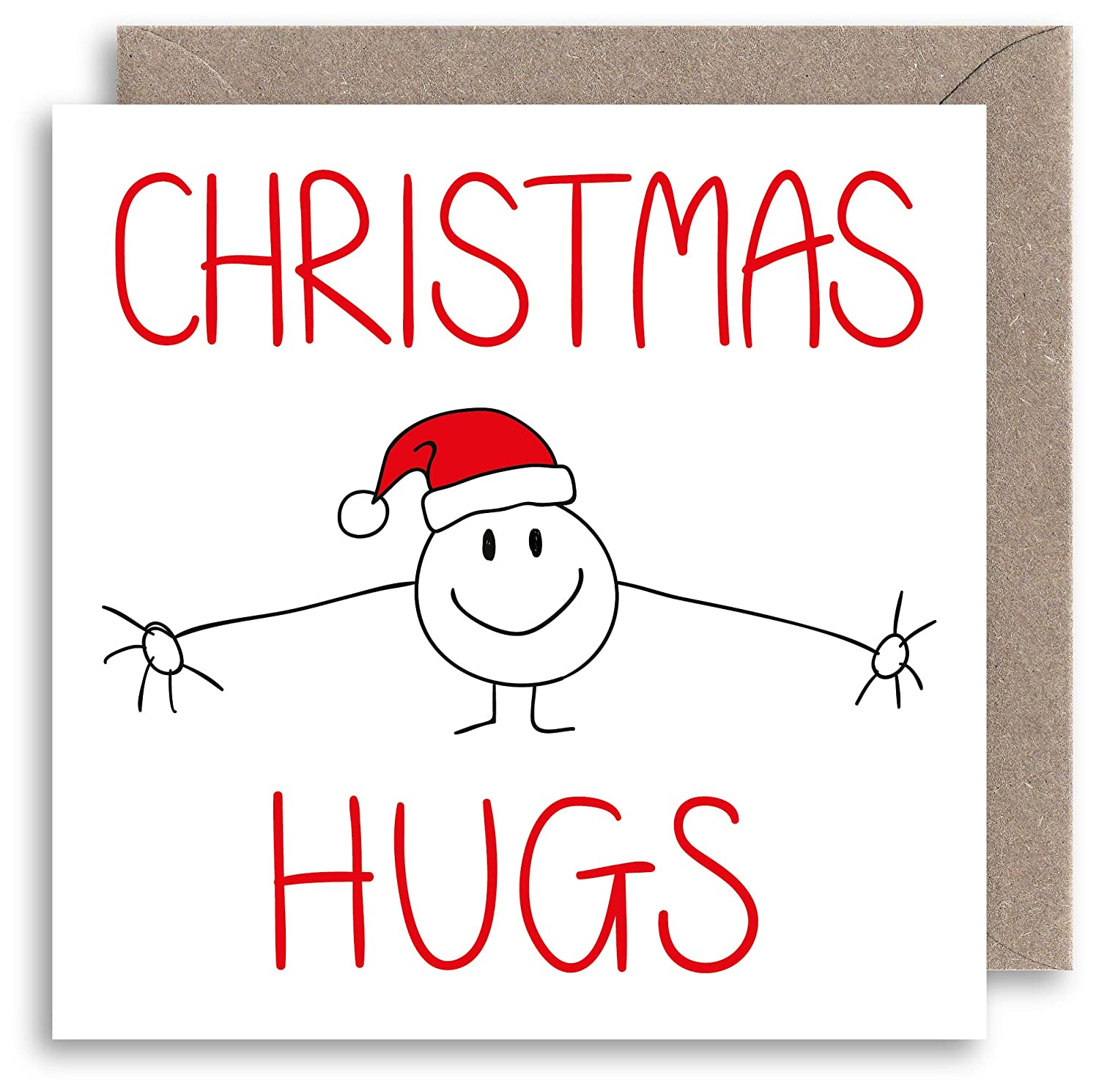 Cute Hugs Christmas Card - Funny Christmas Card - Humour Xmas Card - Alternative Christmas Card - Family Friendship Christmas Card Lazy Mice