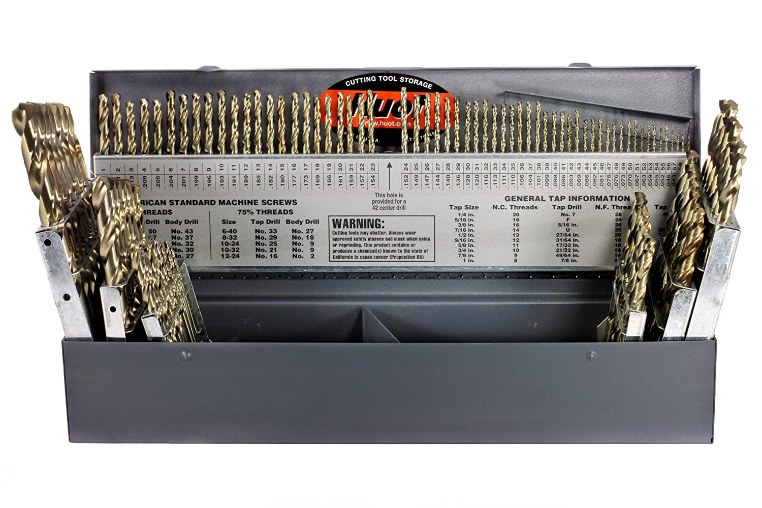 Z Drillco 400N Series Nitro 115 Piece High-Speed Steel Heavy-Duty Jobber Drill Bit Set includes: 1//16-1//2 in 1//64 increments Sizes #1-60 and A Black and Gold Oxide Finish Spiral Flute 135 Degrees Split Point Round Shank